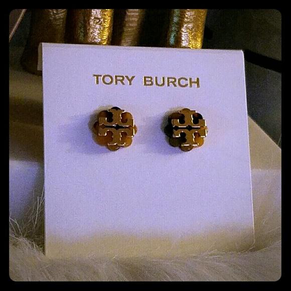a89de7449 Tory Burch Jewelry | Logo Flower Resin Earrings Tortoise | Poshmark
